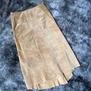 DKNY Suede Skirt in Caramel